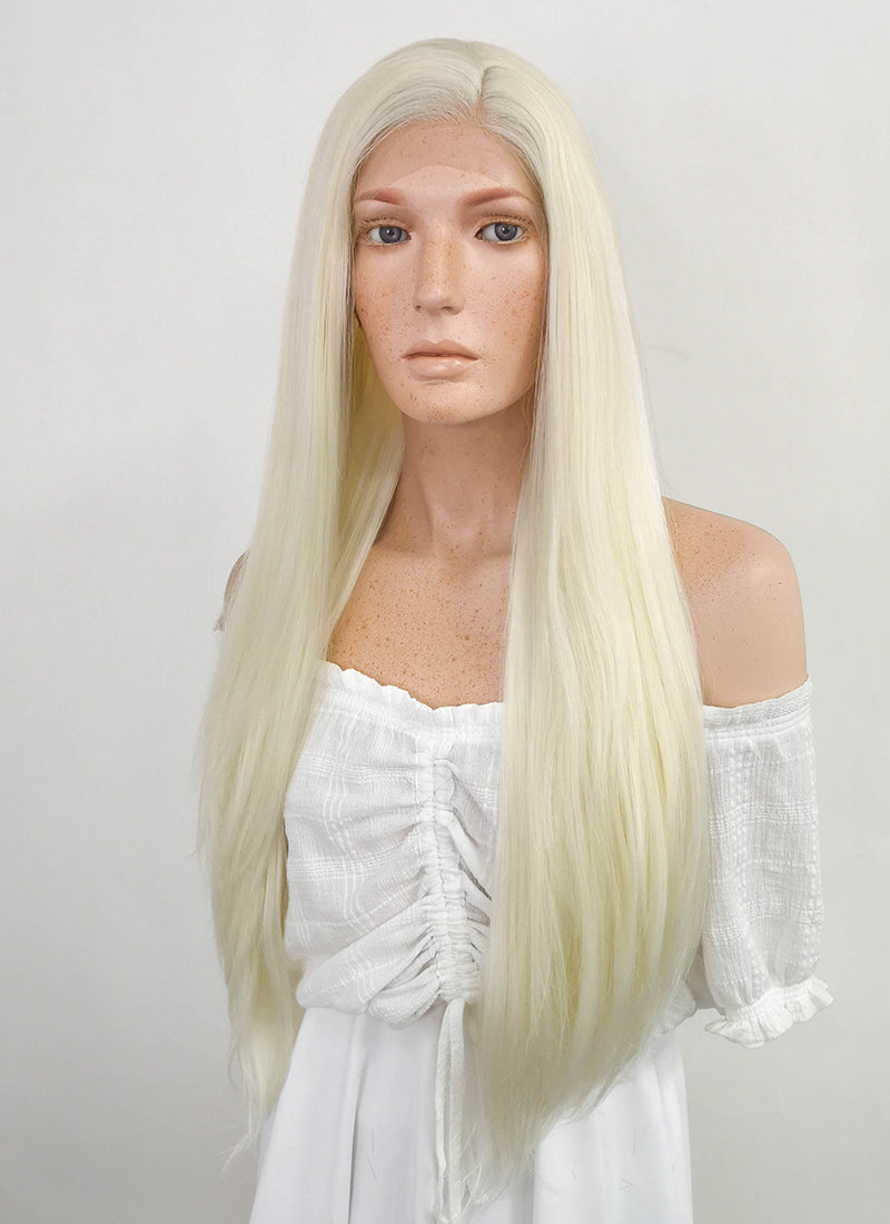 Long Straight Light Blonde Lace Front Synthetic Hair Wig LF338 - CosplayBuzz