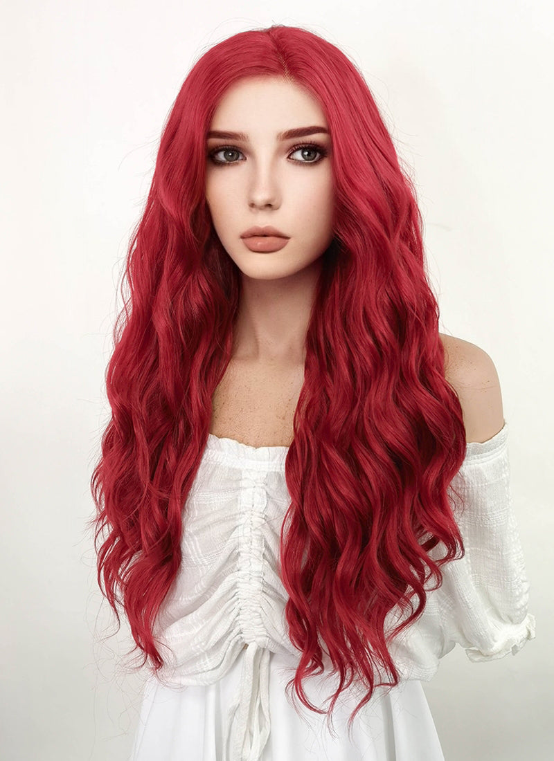 Long Curly Red Lace Front Synthetic Fashion Wig LF355 - CosplayBuzz
