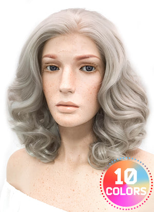 Medium Wavy Bob Blondish Grey Lace Front Synthetic Hair Wig LF369