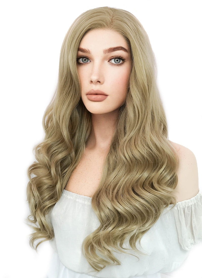 Long Curly Ash Blonde Lace Front Synthetic Hair Wig LF373 - CosplayBuzz