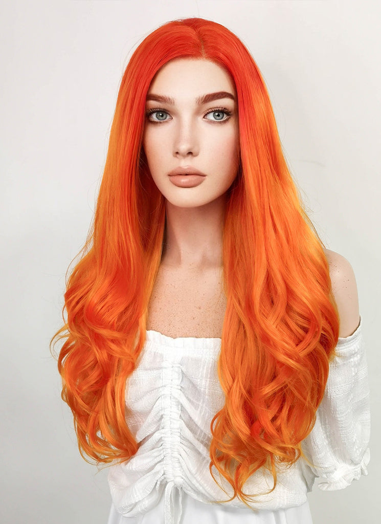 "24"" Long Curly Red Mixed Orange Lace Front Synthetic Hair Wig LF383"