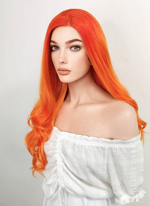 Long Wavy Red Mixed Orange Lace Front Synthetic Hair Wig LF383