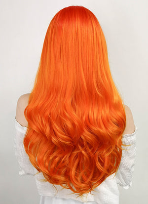 DC Starfire Long Curly Red Mixed Orange Lace Front Synthetic Hair Wig LF383