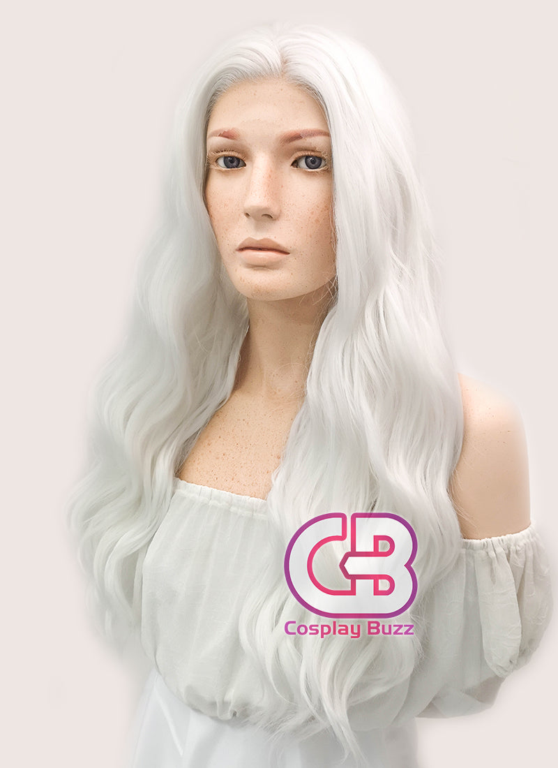 Long Curly White Lace Front Synthetic Hair Wig LF388 - CosplayBuzz