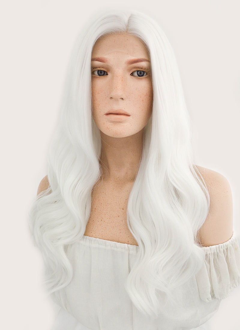 Long Wavy White Lace Front Synthetic Hair Wig LF389 - CosplayBuzz