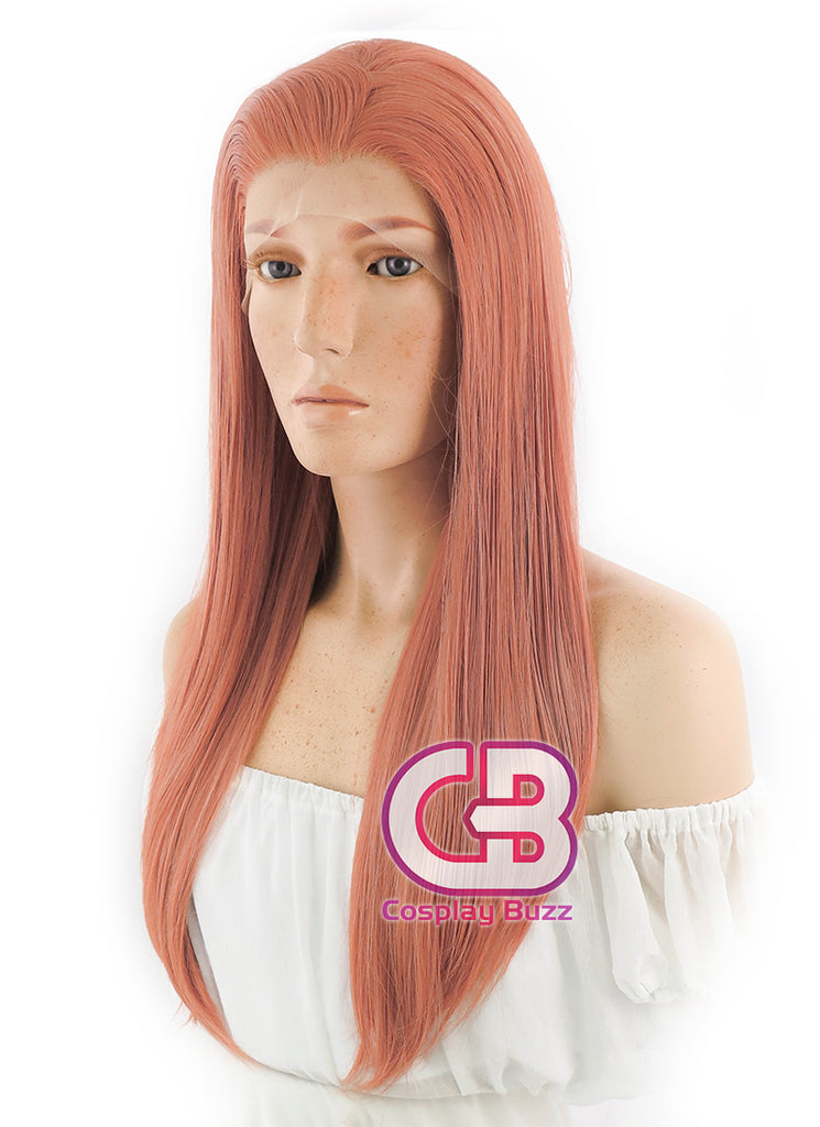 Long Straight Pinkish Orange Lace Front Synthetic Hair Wig LF399 - CosplayBuzz