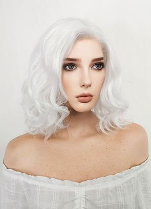 Short Wavy Bob White Lace Front Synthetic Hair Wig LF405 - CosplayBuzz