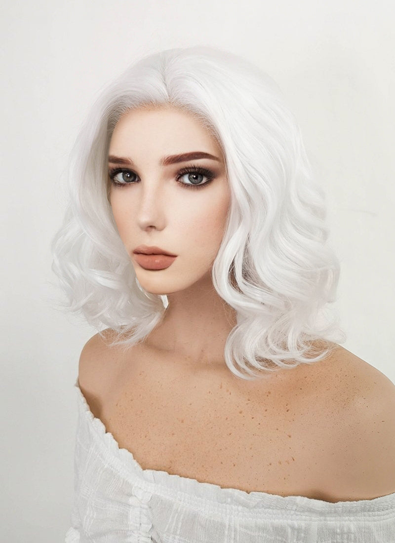 Short Wavy Bob White Lace Front Synthetic Hair Wig Lf405