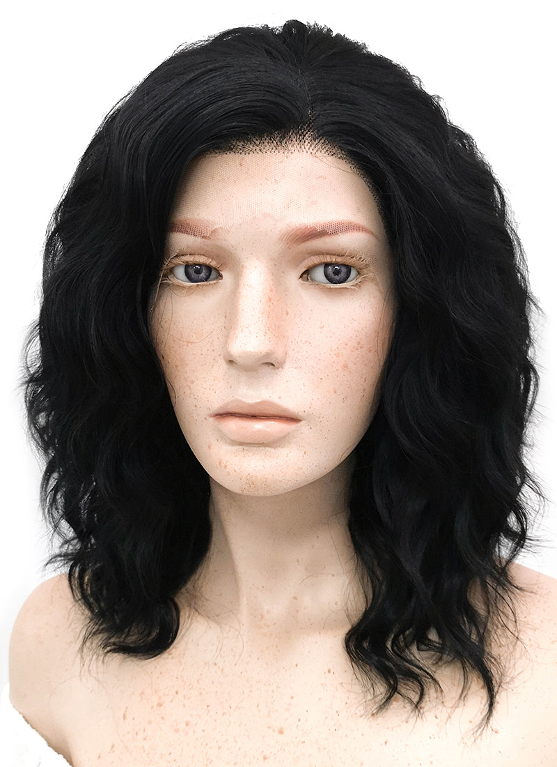 Medium Wavy Bob Black Lace Front Synthetic Hair Wig LF406 - CosplayBuzz
