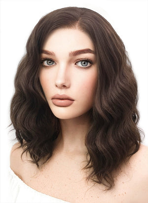 Medium Wavy Brown Lace Front Synthetic Hair Wig LF407 - CosplayBuzz
