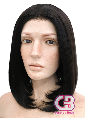 Short Straight Bob Black Mixed Brown Lace Front Synthetic Hair Wig LF437 - CosplayBuzz
