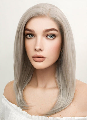 Medium Straight Bob Pastel Grey Blonde Lace Front Synthetic Hair Wig LF509 - CosplayBuzz