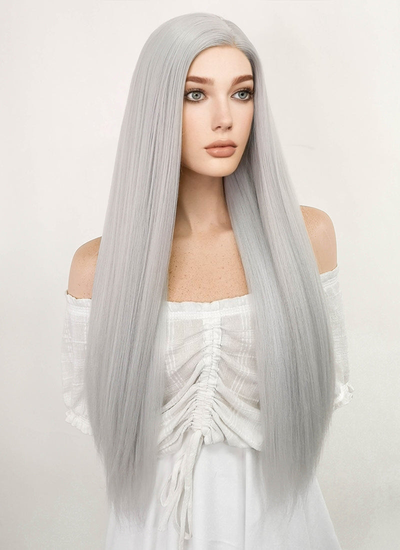 Long Straight Yaki Silver Grey Lace Front Synthetic Hair Wig LF624N