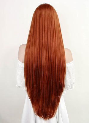 Long Straight Yaki Reddish Orange Lace Front Synthetic Hair Wig LF624 - CosplayBuzz