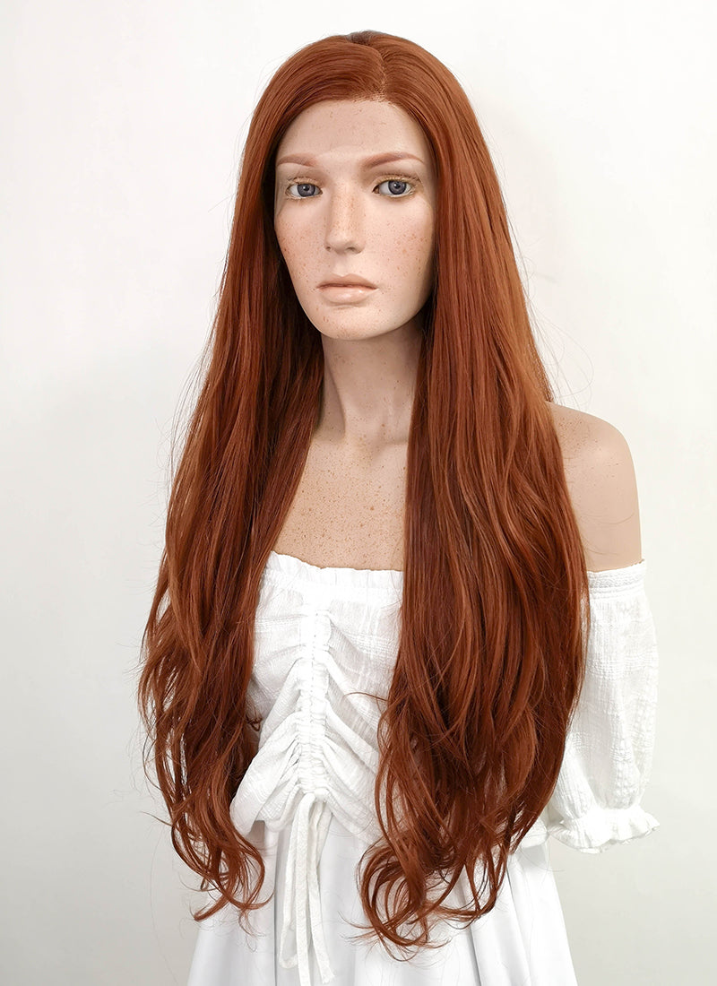 Long Wavy Reddish Brown Lace Front Synthetic Hair Wig LF640C - CosplayBuzz