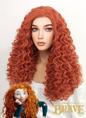 Disney Brave Merida Cosplay Long Spiral Curly Reddish Orange Lace Front Synthetic Hair Wig LF663J