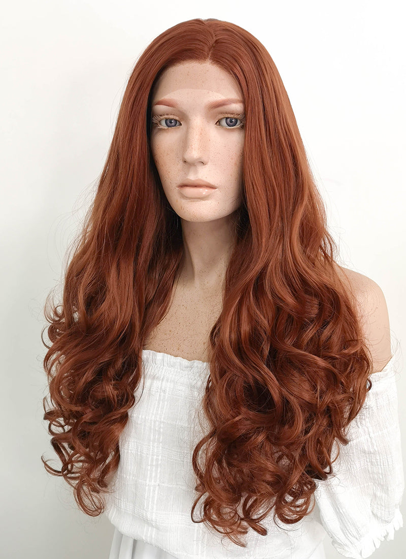 Long Wavy Reddish Brown Lace Front Synthetic Hair Wig LF667D
