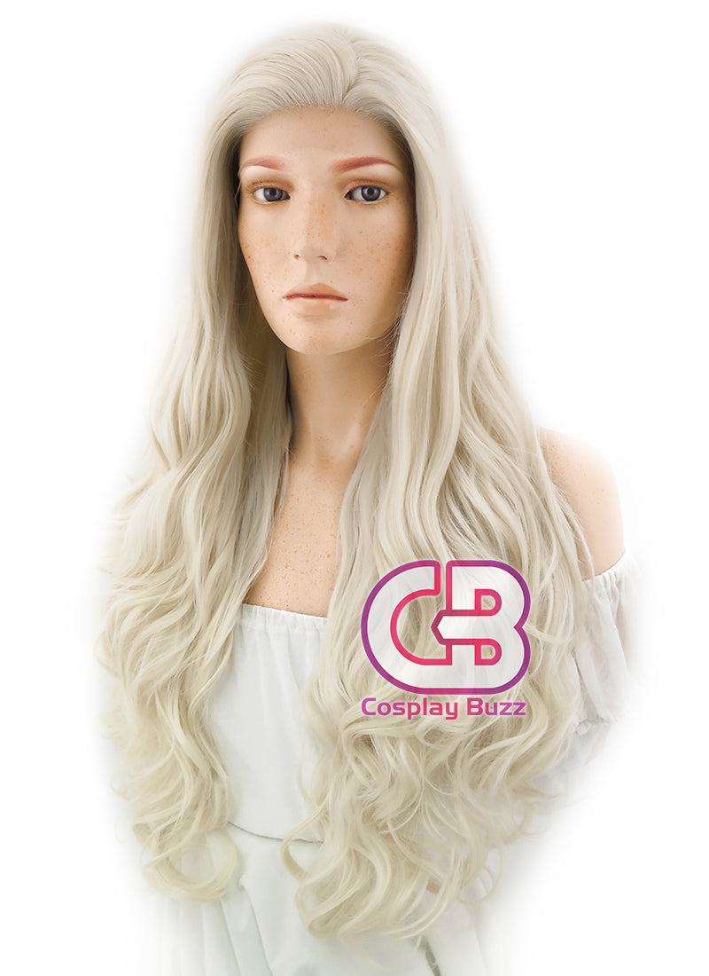 Long Curly Platinum Blonde Lace Front Synthetic Hair Wig LF667F - CosplayBuzz