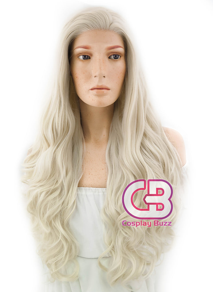 "28"" Long Curly Platinum Blonde Lace Front Synthetic Hair Wig LF667F - CosplayBuzz"