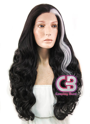 Long Curly Black Mixed Silver Grey Lace Front Synthetic Hair Wig LF667W - CosplayBuzz