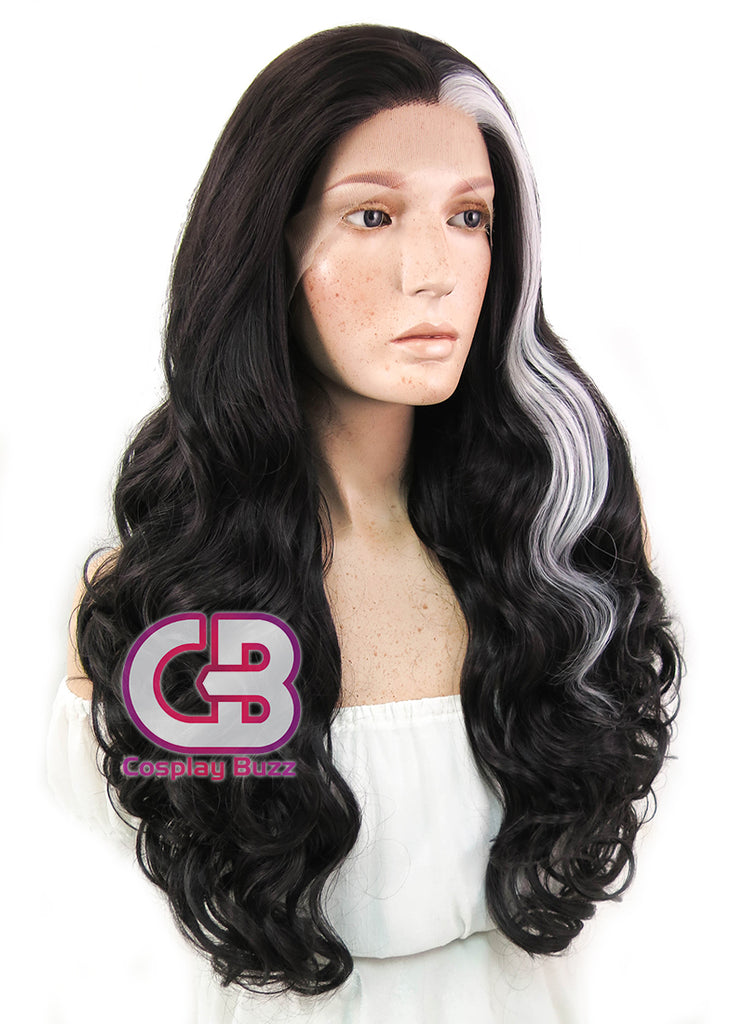 "28"" Long Curly Black Mixed Silver Grey Lace Front Synthetic Hair Wig LF667W - CosplayBuzz"