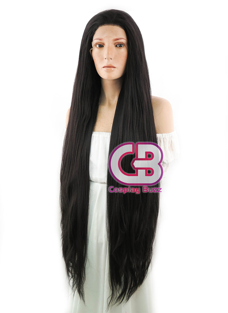 "39"" Long Straight Yaki Natural Black Lace Front Synthetic Hair Wig LF701A - CosplayBuzz"