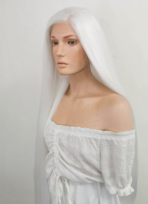 Long Straight Yaki White Lace Front Synthetic Hair Wig LF701B - CosplayBuzz