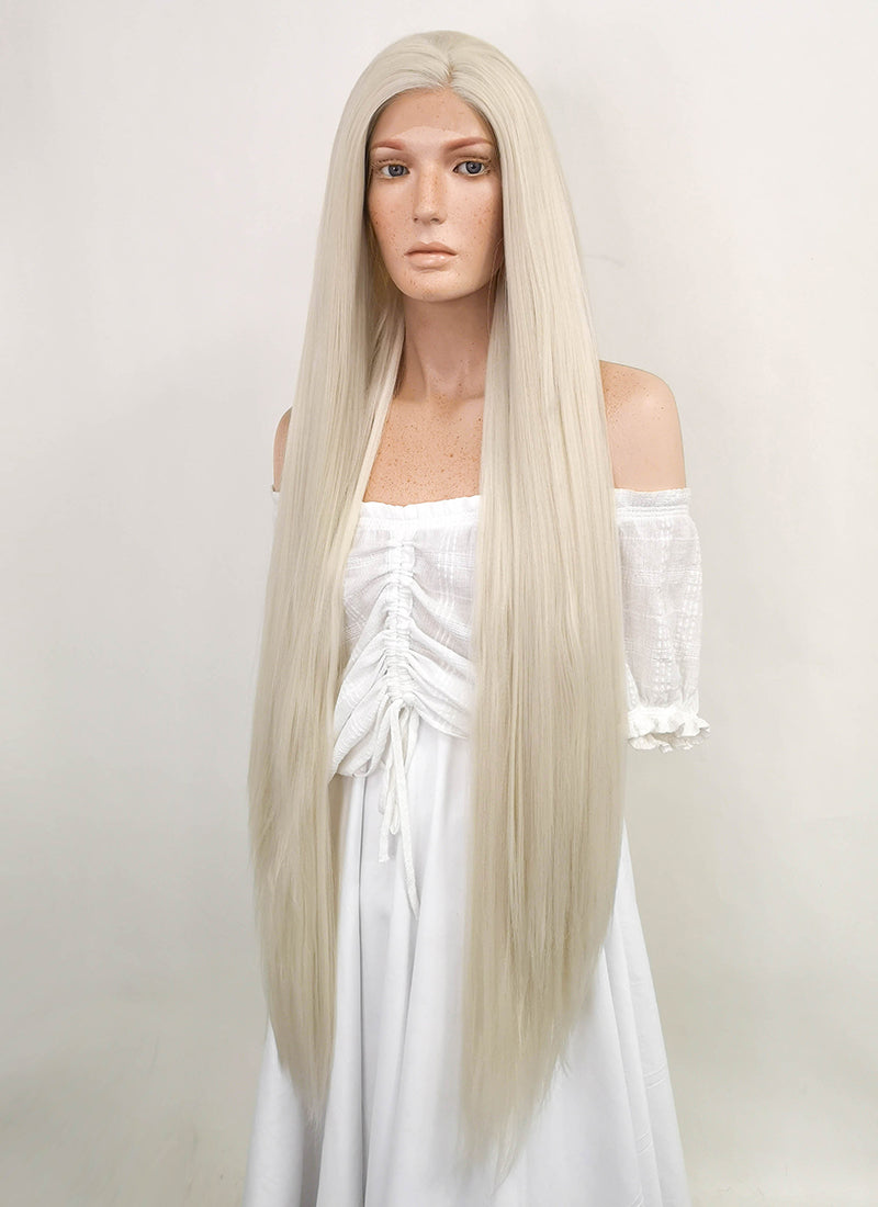 Straight Yaki Platinum Blonde Lace Front Synthetic Wig LF701H - CosplayBuzz