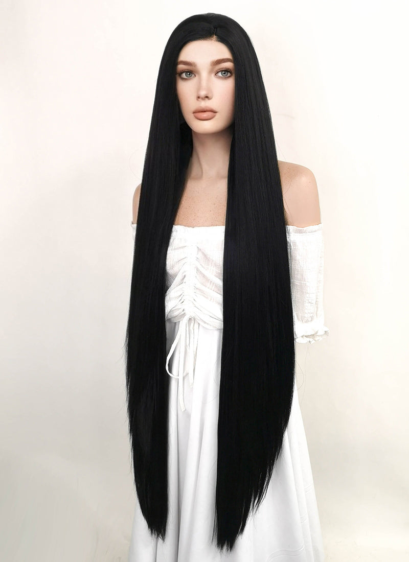 Long Straight Yaki Jet Black Lace Front Synthetic Hair Wig LF701R - CosplayBuzz