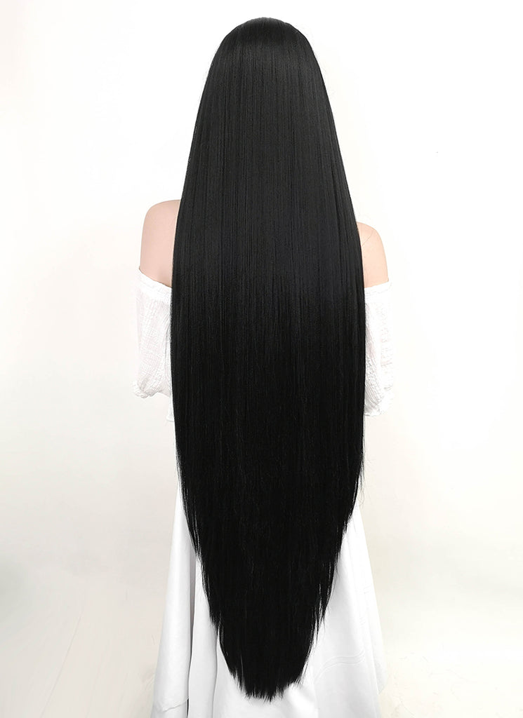 "39"" Long Straight Yaki Jet Black Lace Front Synthetic Hair Wig LF701R"