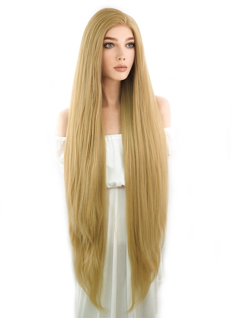 "39"" Long Straight Yaki Blonde Lace Front Synthetic Hair Wig LF701S - CosplayBuzz"