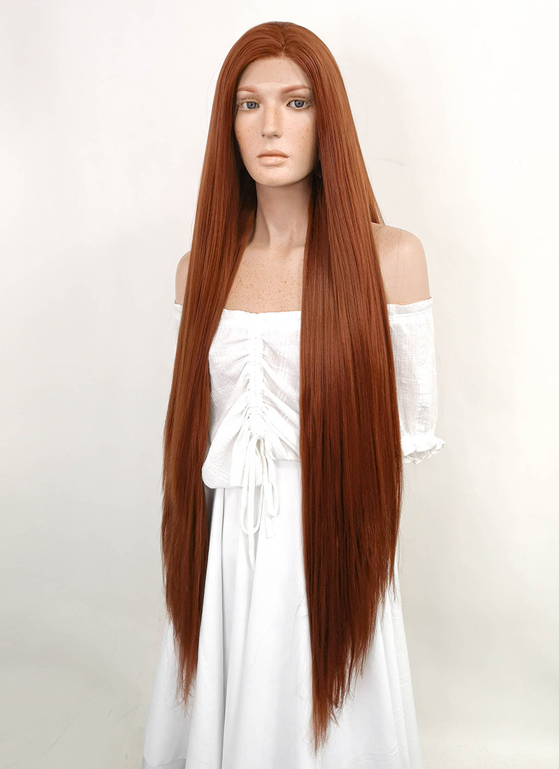 Long Straight Yaki Reddish Brown Lace Front Synthetic Hair Wig LF701 - CosplayBuzz