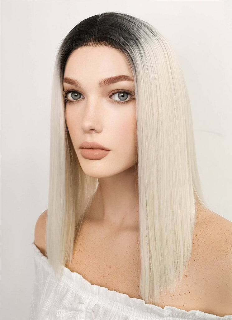 "14"" Medium Straight Black Mixed Light Blonde Lace Front Synthetic Hair Wig LF770A"