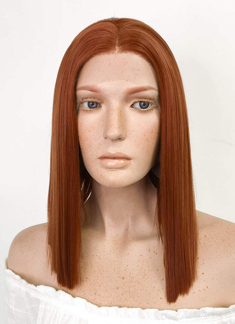 Medium Straight Reddish Brown Lace Front Synthetic Hair Wig LF770C