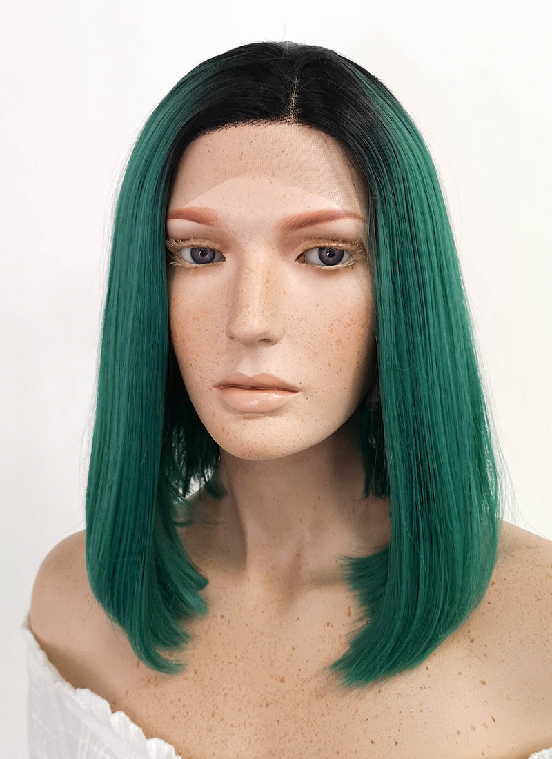 Medium Straight Black Mixed Dark Green Lace Front Synthetic Hair Wig LF819 - CosplayBuzz