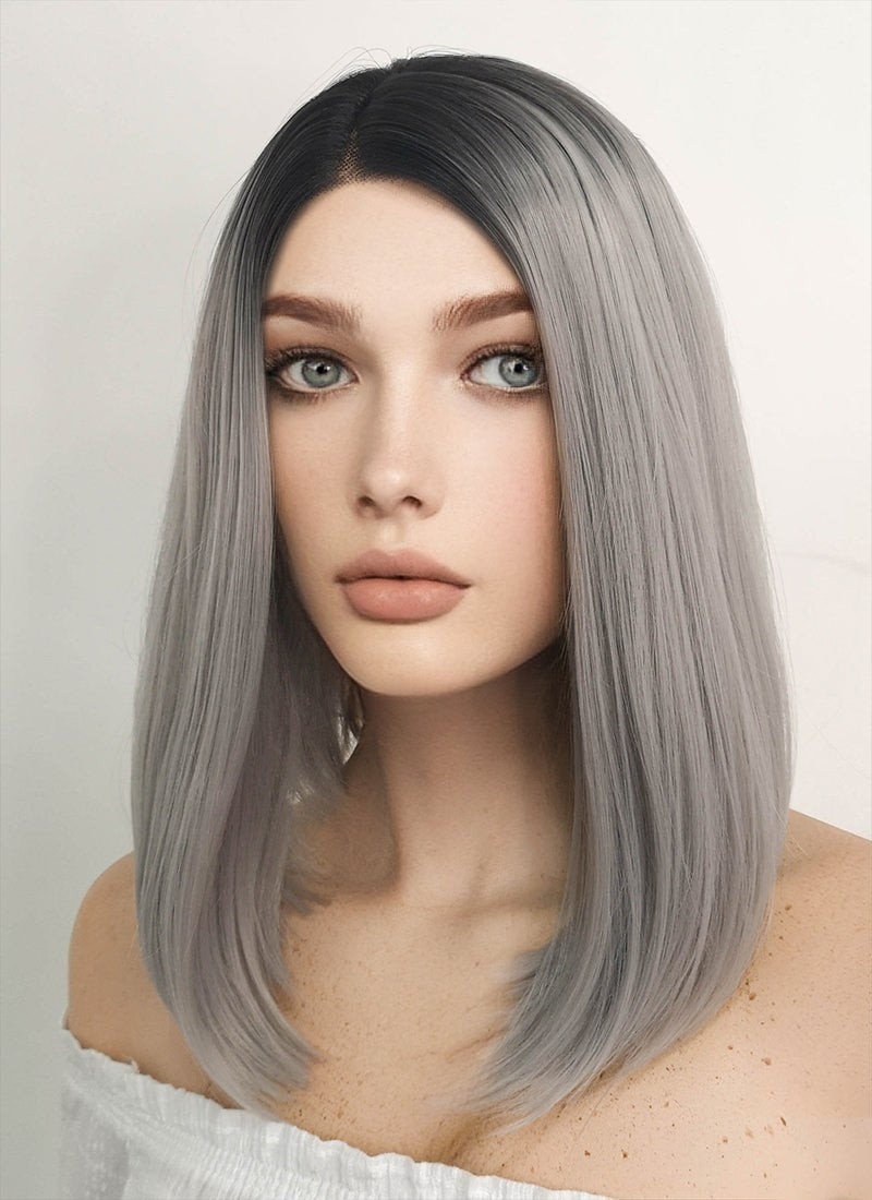 Short Straight Black Mixed Grey Lace Front Synthetic Hair Wig LF837