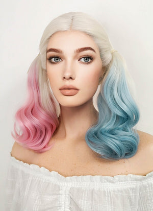 Suicide Squad Harley Quinn Medium Blonde Pink Blue Lace Front Synthetic Hair Wig LF853E