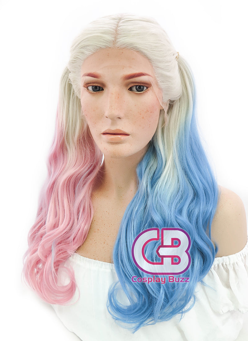 Suicide Squad Harley Quinn Long Blonde Pink Blue Lace Front Synthetic Hair Wig LF853