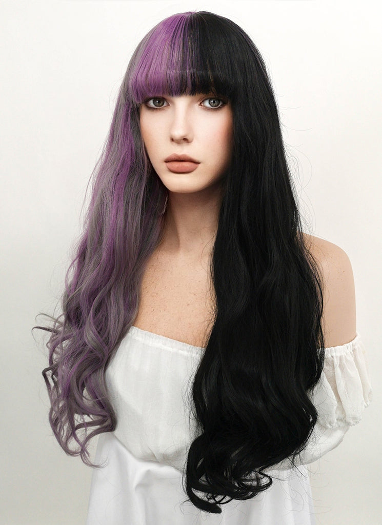 "24"" Long Curly Purple Grey Black Mixed Lace Front Synthetic Split Color Wig LF869 - CosplayBuzz"