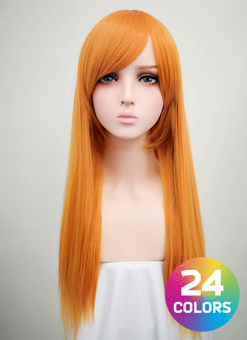 Long Straight Orange Cosplay Wig LW001 - CosplayBuzz