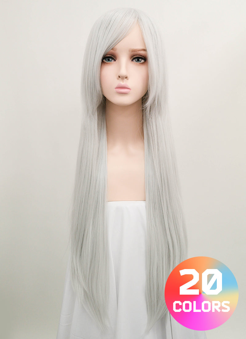 Long Straight Silver white Cosplay Wig LW002 - CosplayBuzz