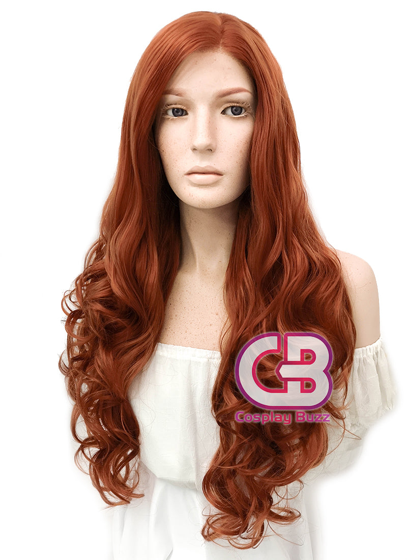 Long Wavy Reddish Orange Lace Front Synthetic Hair Wig LW085A