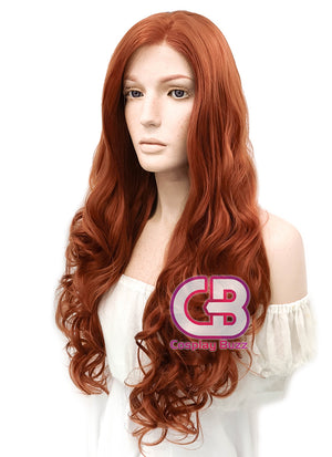Long Curly Reddish Orange Lace Front Synthetic Hair Wig LW085A - CosplayBuzz