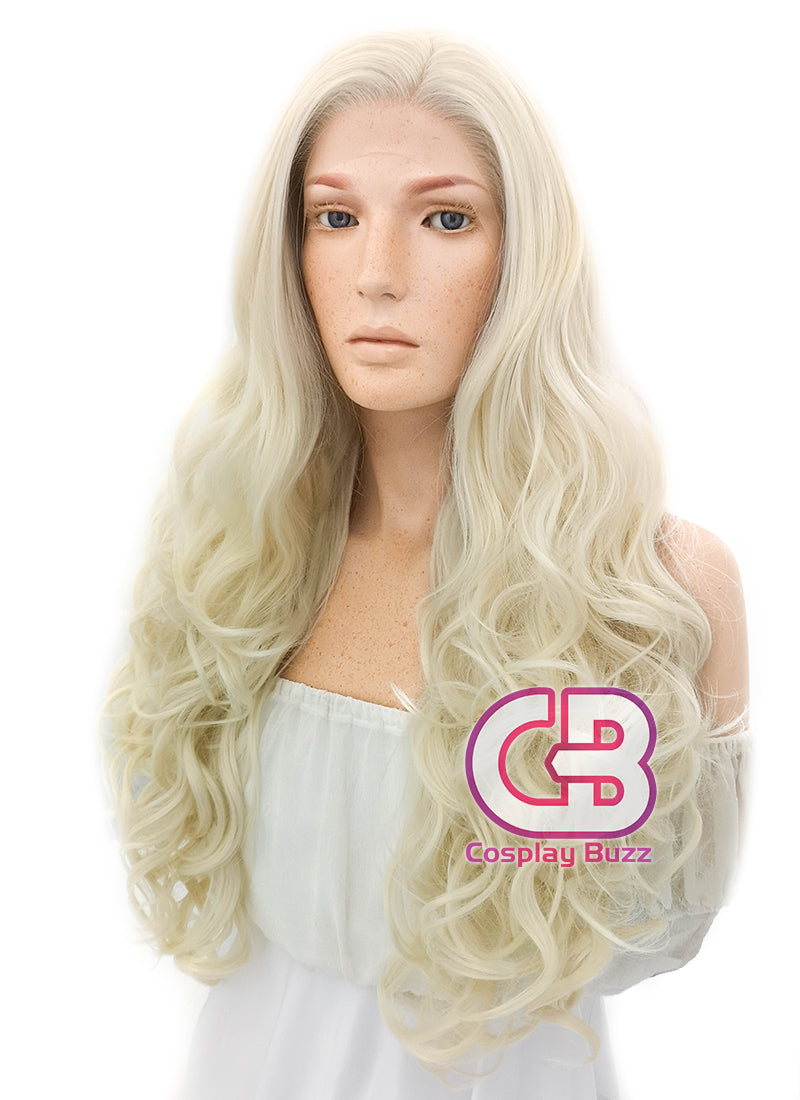 Long Curly Light Blonde Lace Front Synthetic Hair Wig LW085D - CosplayBuzz