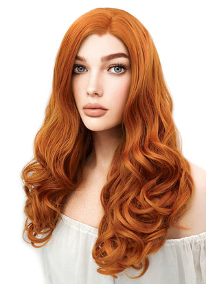 Long Wavy Pumpkin Orange Lace Front Synthetic Hair Wig LW085E - CosplayBuzz