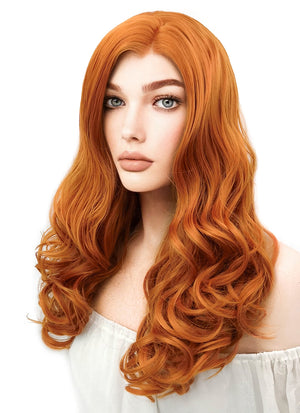 Long Curly Pumpkin Orange Lace Front Synthetic Hair Wig LW085E - CosplayBuzz