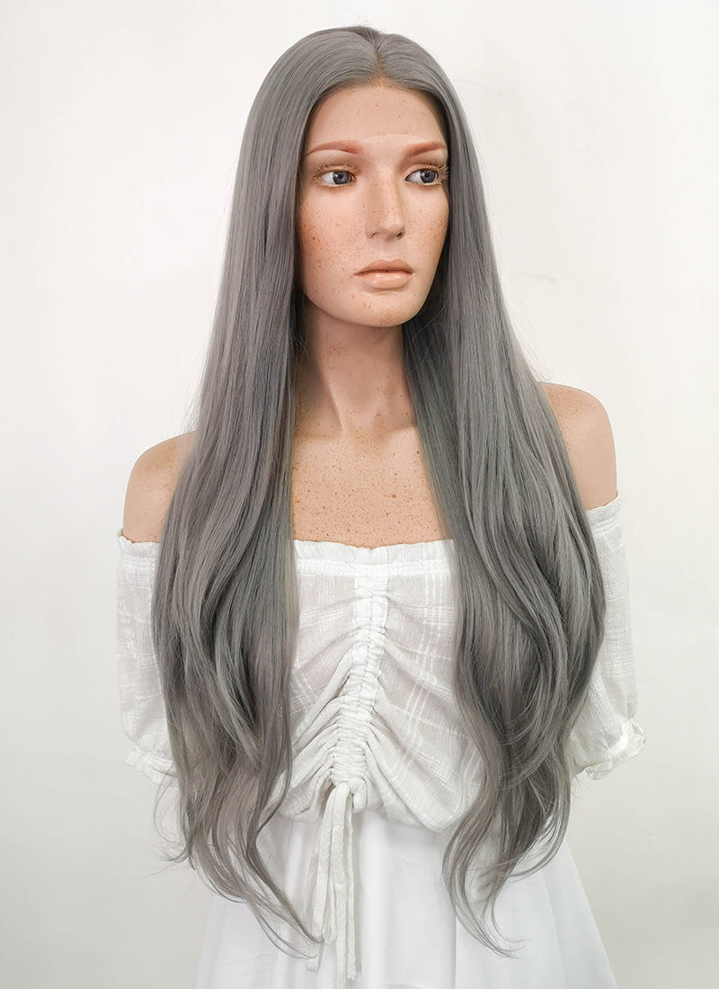 Long Straight Silver Grey Lace Front Synthetic Hair Wig LW150A