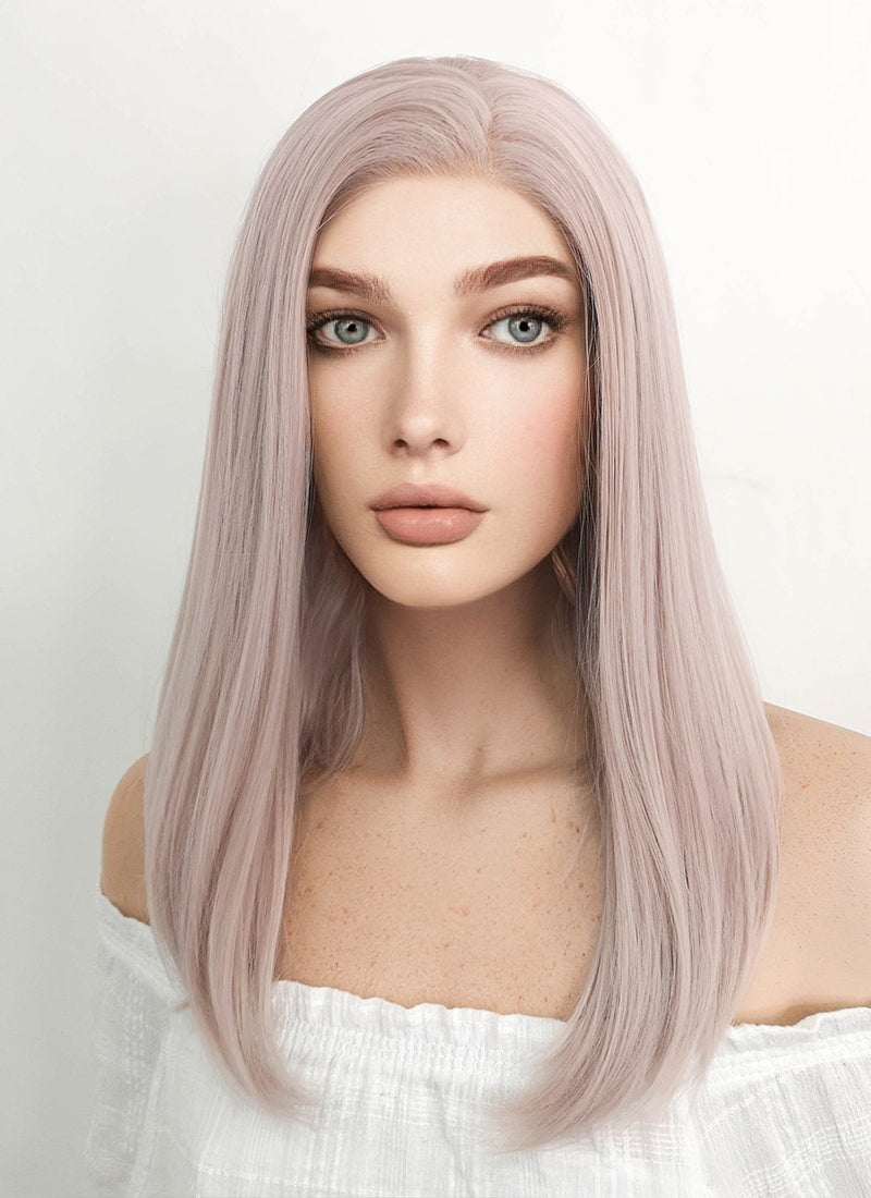 Medium Straight Pinkish Grey Lace Front Synthetic Hair Wig LW1514A