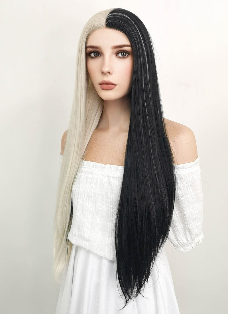 Long Wavy Light Blonde Mixed Black Lace Front Synthetic Hair Wig LW1531 - CosplayBuzz