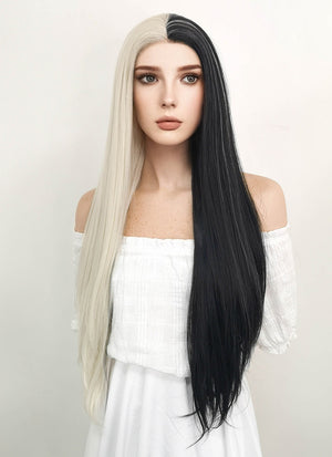 Long Straight Light Blonde Mixed Black Lace Front Synthetic Hair Wig LW1531 - CosplayBuzz